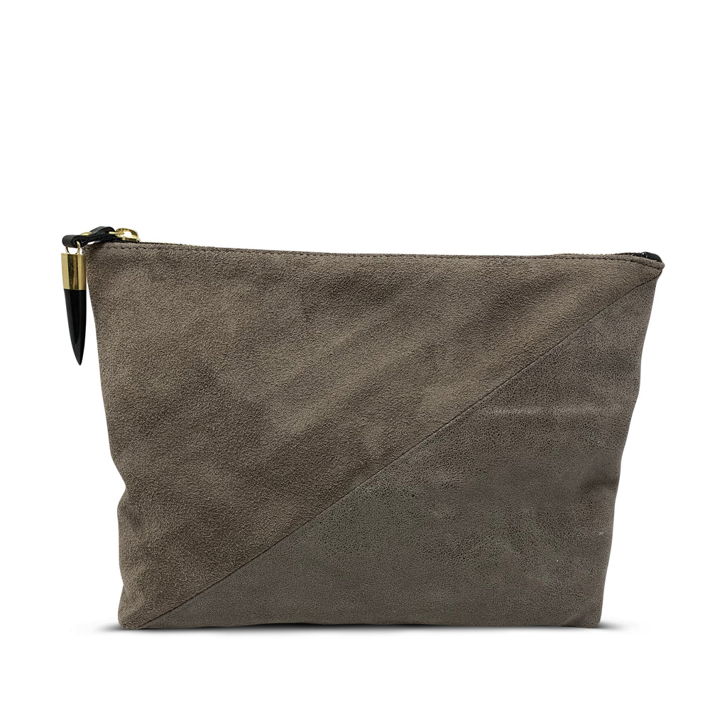 Taupe Distressed Glitter Medium Pouch
