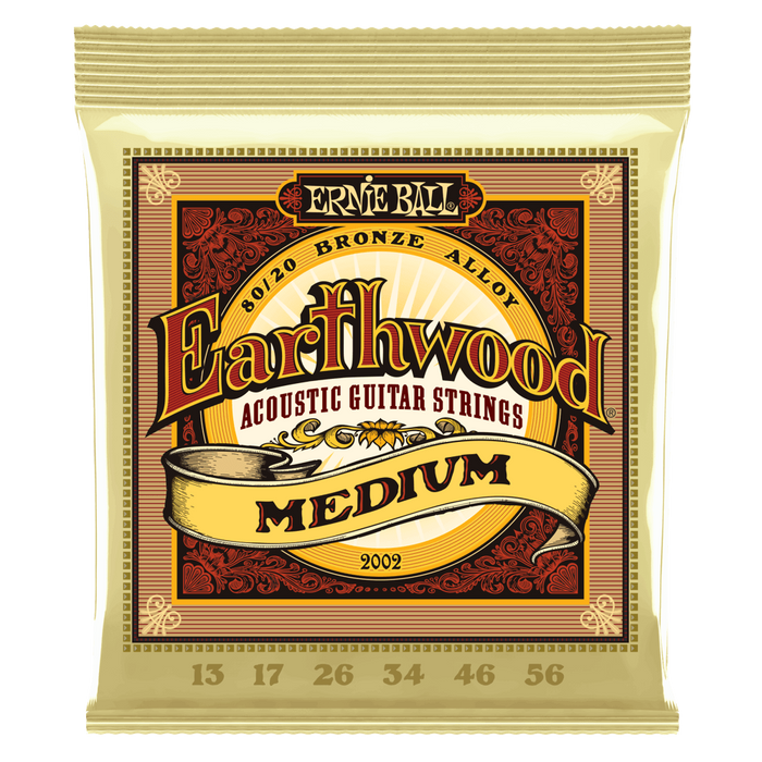 Ernie Ball Earthwood Medium 80/20 Bronze Acoustic Guitar Strings 13-56