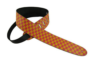 "Henry Heller 2"" Yellow/Pink Checker Guitar Strap"