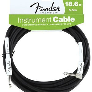 Fender Performance Series Right-Angle Instrument Cable Black 18.6 Feet