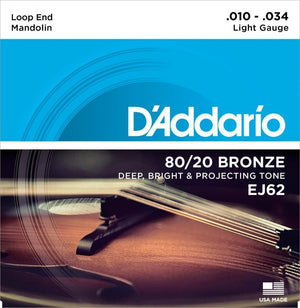 D'Addario EJ62  Bronze 80/20  Mandolin Light Guage String Set 10-34