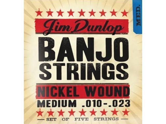 Dunlop 5 String Banjo Strings, Nickel Wound,  Medium 10-23