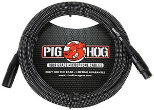 Pig Hog Tour Quality 20' Black and White Woven Microphone Cable XLR-XLR