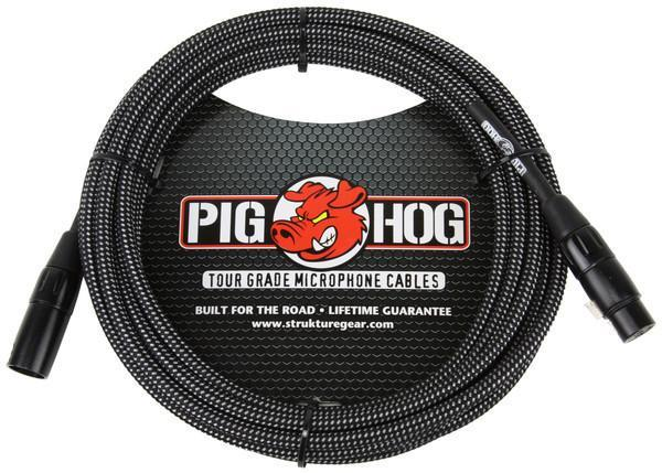 "Pig Hog 20ft XLR ""Black/White"" Woven Tour Grade Microphone Cable"