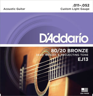 D'Addario 80/20 Bronze 11-52 Acoustic Guitar String Set