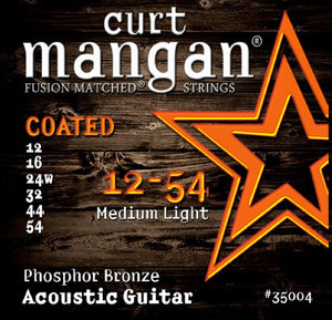 Curt Mangan Coated 12-54 Phosphor Bronze Acoustic Guitar String Set