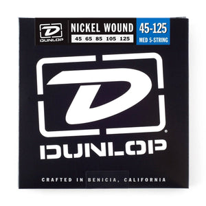 Dunlop Nickel Wound Bass Strings, Medium, .045–.125, 5 Strings/Set