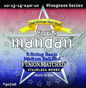Curt Mangan 5 String Banjo String Set, Medium Ball End Stanless