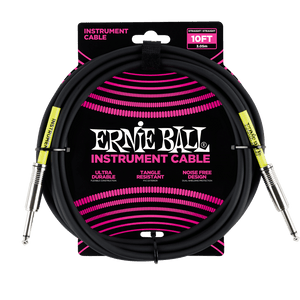 "Ernie Ball 10' Straight/Straight 1/4"" to 1/4"" Instrument Cable (Black)"