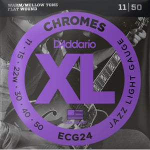 D'Addario ECG24 Chromes Flatwound 11-50 Wound Electric Guitar String Set