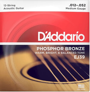 D'Addario EJ39 Phosphor Bronze 12-String Acoustic Guitar Strings, Medium, 12-52