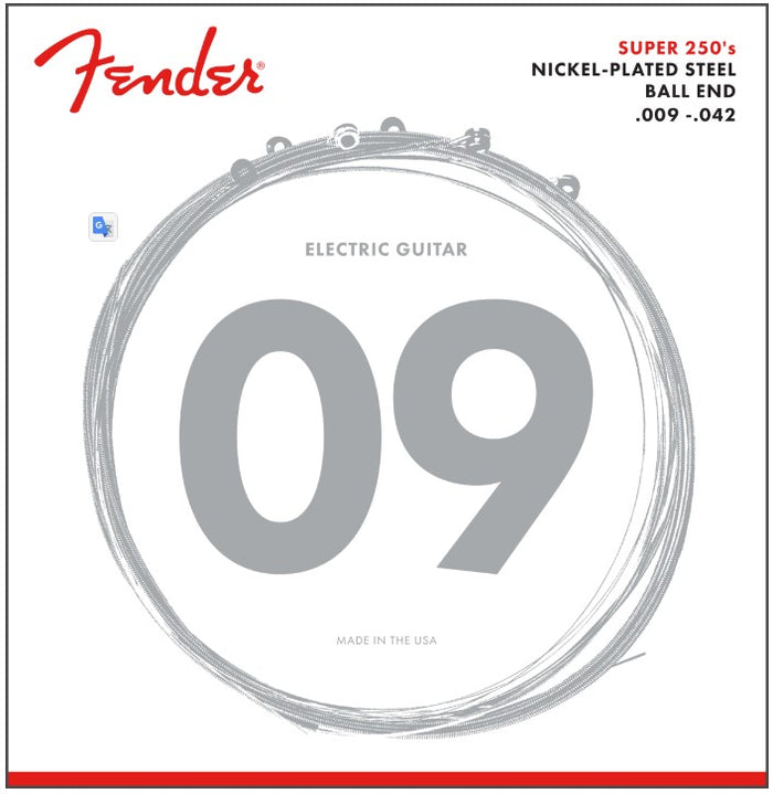 Fender Super 250 Guitar Strings, Nickel Plated Steel, Ball End