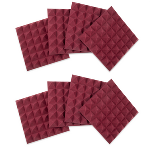 Gator Frameworks Acoustic Pyramid Panel Burgundy 8 Pack 12x12""