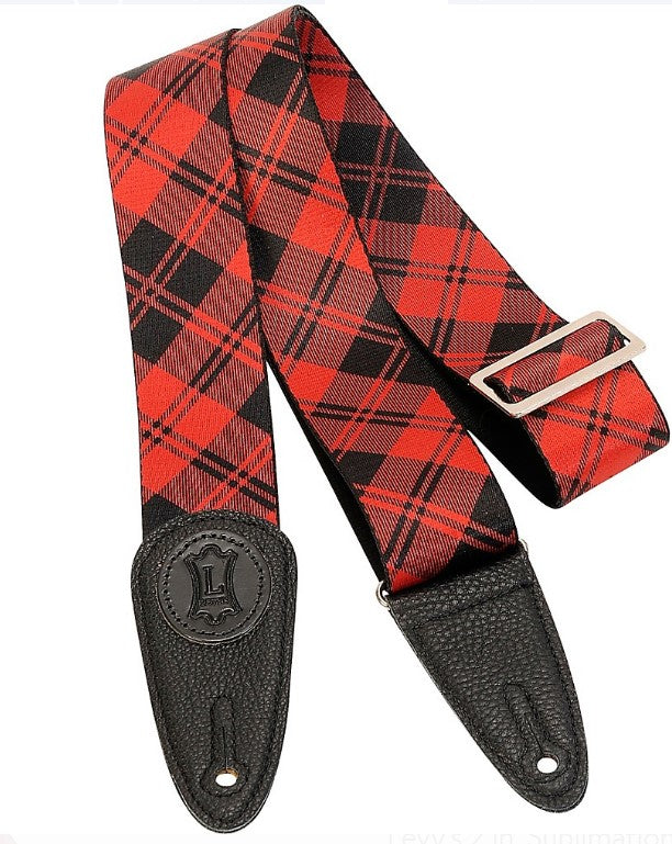 "Levy's Leathers 2"" Red Plaid Guitar Strap MSSPLD8-RED"