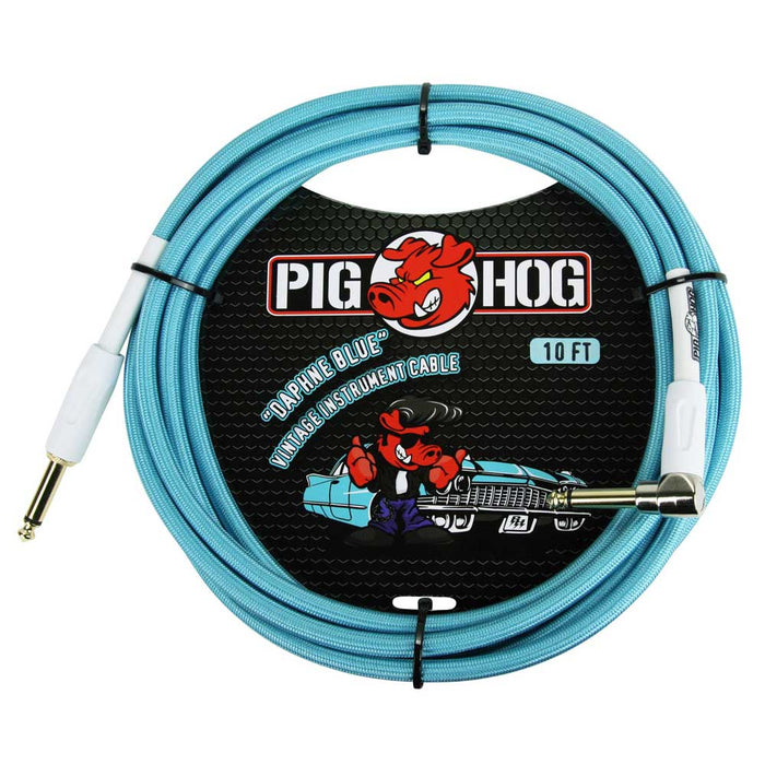 "Pig Hog 10ft Right Angle, ""Daphne Blue"" Vintage Instrument Cable"