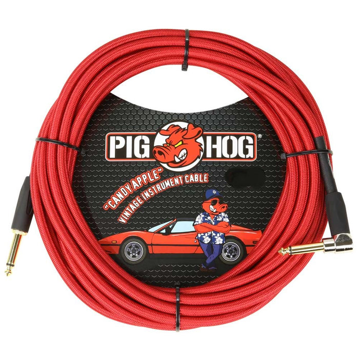 "Pig Hog 20ft Right Angle ""Candy Apple"" Vintage Instrument Cable"