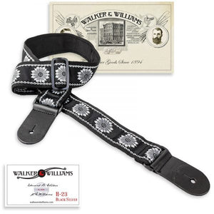 Walker and Williams H-23 Vintage Series Woven Strap Black & Silver