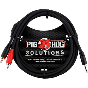 Pig Hog 3.5 mm to Dual RCA (Male) Stereo Breakout Cable, 6 feet,