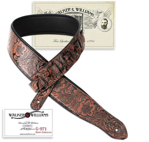 Walker & Williams Chestnut Brown Western Embossed Strap with Soft Padded Back