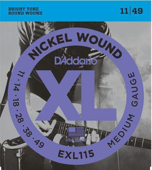 D'Addario XL 11-49 Electric Guitar String Set