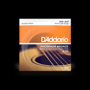 D'Addario EJ15 Phosphor Bronze 10-47 Acoustic Guitar String Set