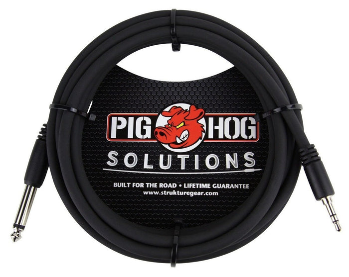 "Pig Hog Solutions 10ft 3.5mm TRS to 1/4"" Mono Cable"