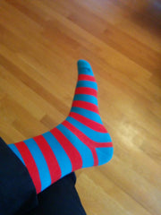 Thick Stripe Socks - Red & Light Blue