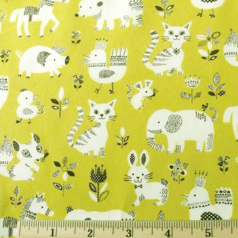 Japanese cotton animal print barnyard