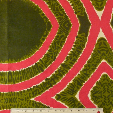 Wax Print Cotton - Olive/Fuchsia Geometric, 1/2 yard