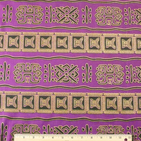 Wax Print Cotton - Purple/Gold Multi, 1/2 yard