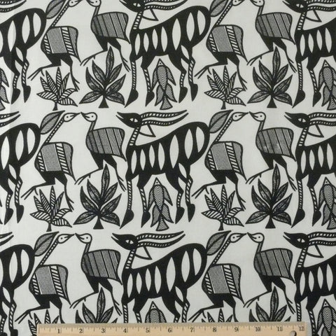 Wax Print Cotton - White/Black Animal, 1/2 yard