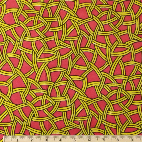 Wax Print Cotton - Fuchsia/Yellow Multi, 1/2 yard