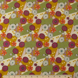 Japanese Cotton - Orchid/Gold Zinnia, 1/2 yard