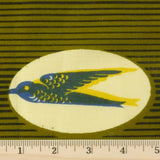 Wax Print Cotton - Olive/Cream Swallow, 1/2 yard