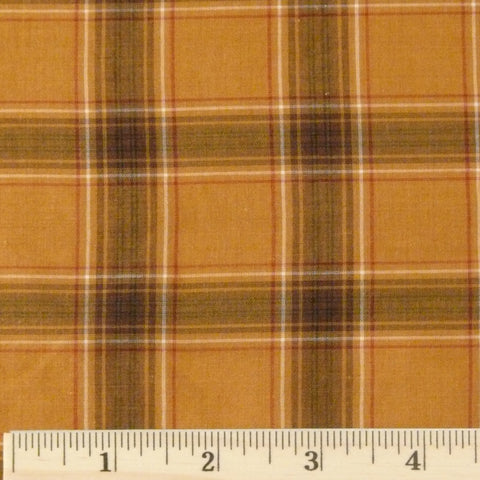 Cotton/Cupro Lawn - Gold Plaid, 1/2 yard
