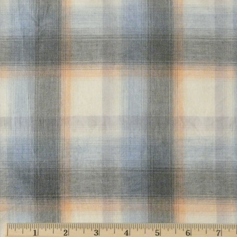 Japanese Organic Cotton Shirting - Blue/Grey/Peach, 1/2 yard