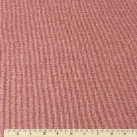 Cotton/Rayon/Poly Ribbing - Brick Heather, 1/2 yard