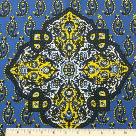 Wax Print Cotton - Blue/Yellow Paisley, 2-yard panel