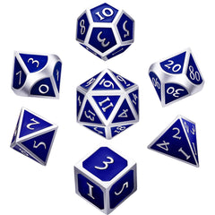 7 Pieces Metal Dices Set Polyhedral Solid Metal D&D Dice Set Zinc Alloy with Enamel for Role Playing Game Dungeons and Dragons (Silver Edge Blue)