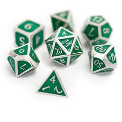 Dungeons and Dragons Metal Dice Set - Perfect Polyhedral Dice Set for RPG's - 7-Die Set (Green/Silver)