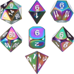 Metal Polyhedral Role Playing Game Dice Set of 7 for RPG Dungeons and Dragons D&D Math Teaching (Rainbow)