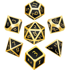 7 Pieces Metal Dices Set Polyhedral Solid Metal D&D Dice Set Zinc Alloy with Enamel for Role Playing Game Dungeons and Dragons (Golden Edge Black)