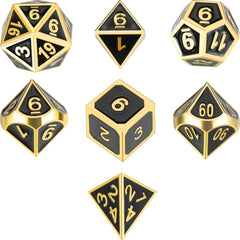 Metal Polyhedral Role Playing Game Dice Set of 7 for RPG Dungeons and Dragons D&D Math Teaching (Shiny Gold/Black)