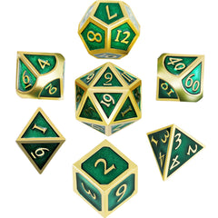 7 Pieces Metal Dices Set Polyhedral Solid Metal D&D Dice Set Zinc Alloy with Enamel for Role Playing Game Dungeons and Dragons (Golden Edge Green)