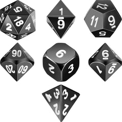 Zinc Alloy Metal Polyhedral 7-Die Dice Set for Dungeons and Dragons RPG Dice Gaming D&D Math Teaching (Shiny Black and White)