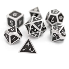 Dungeons and Dragons Metal Dice Set - Perfect Polyhedral Dice Set for RPG's - 7-Die Set (Black/Silver)