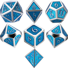 Metal Polyhedral Role Playing Game Dice Set of 7 for RPG Dungeons and Dragons D&D Math Teaching (Turquoise)