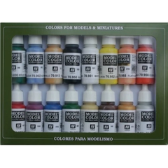 Vallejo 70140 Model Colour Basic Colors USA 16 Colour Acrylic Paint Set