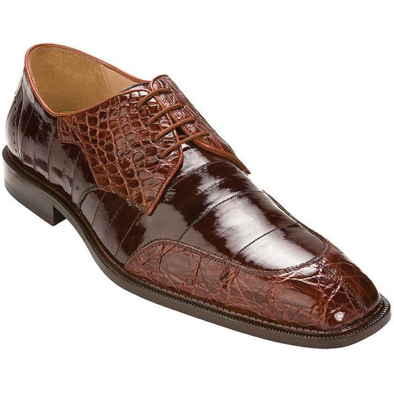 Belvedere Cane Genuine Crocodile Belly and Eel Lace Up Oxford - Brandy / Brown - Dapperfam.com