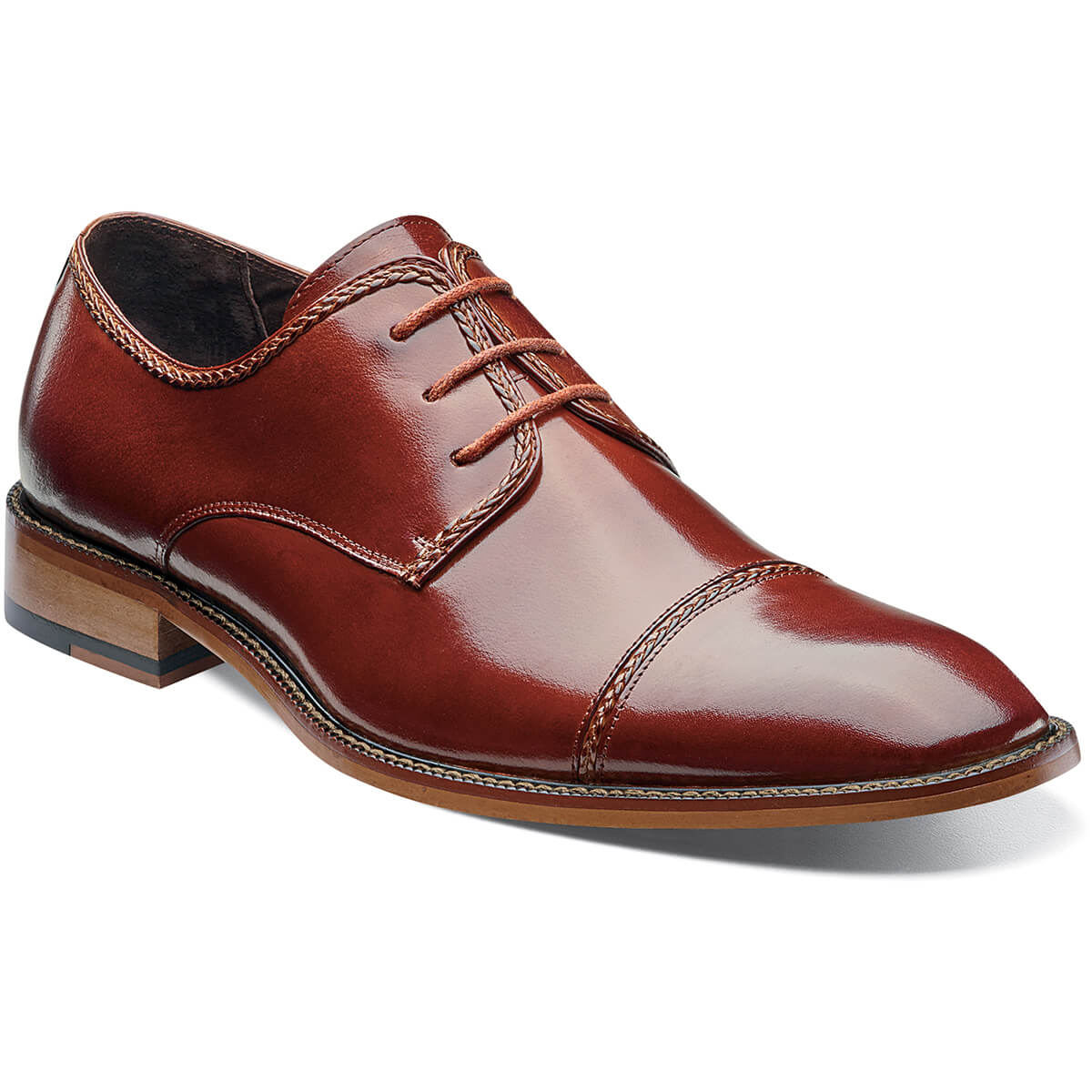 Stacy Adams Brayden Cap Toe Oxford - Cognac Shoes - Dapperfam.com